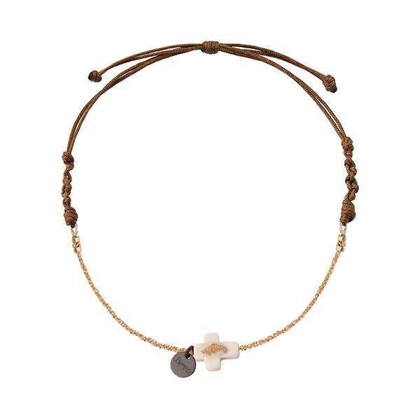 bracelet femme croix lsonge blanc