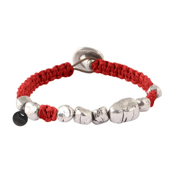 bracelet cordon rouge homme