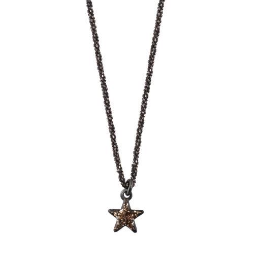 Collier argent noir étoile émaillée