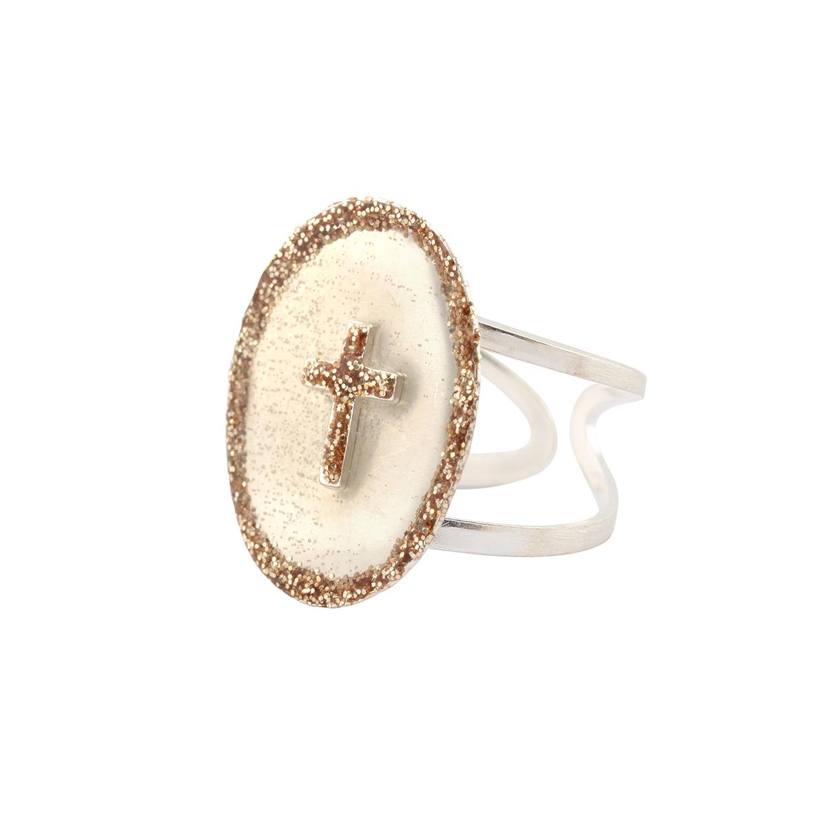 détaillant en ligne e1cec 8099a Bague réglable argent 925 blanc et croix émail diamanté