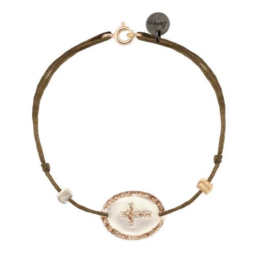 bracelet cordon médaille argent