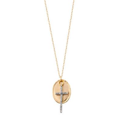 collier croix argent doré femme
