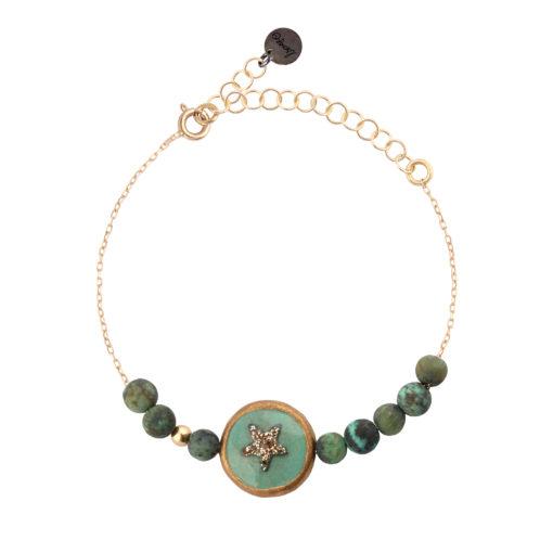 bracelet femme chaine or et perles turquoise