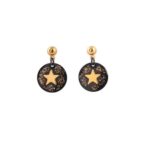 boucles d'oreille médaillon étoile