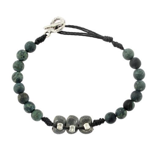 bracelet homme en perles et argent