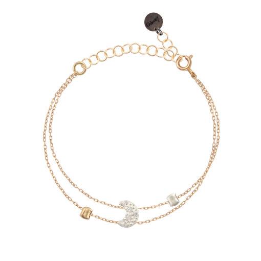bracelet femme chaine réglable et lune