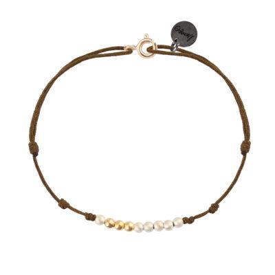 bracelet femme cordon perles argent