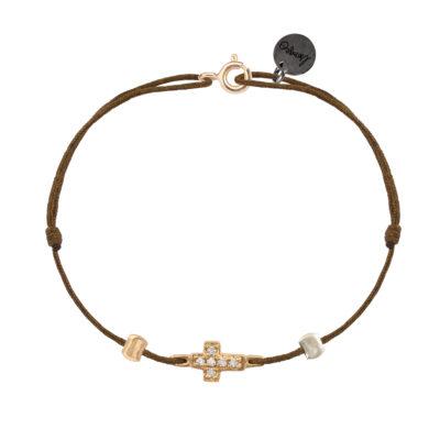 bracelet femme cordon lurex et croix