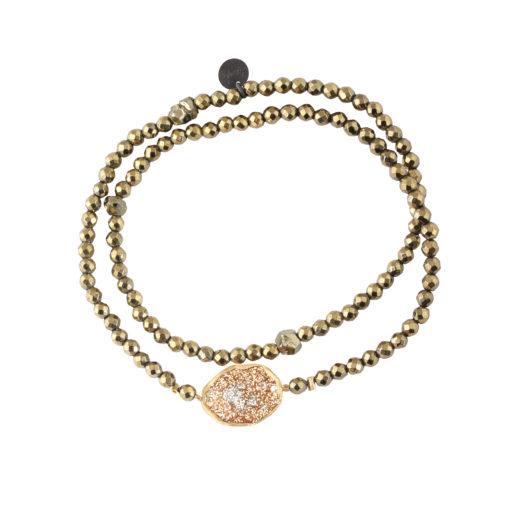bracelet femme double tour en perles naturelles