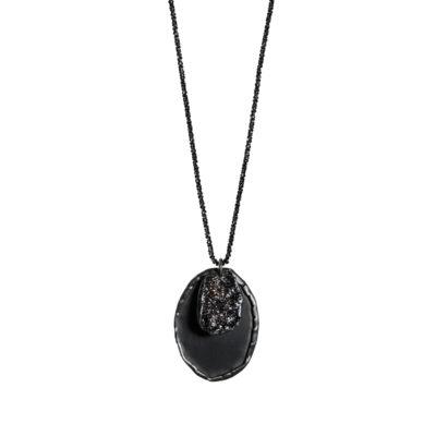 collier sautoir argent noir