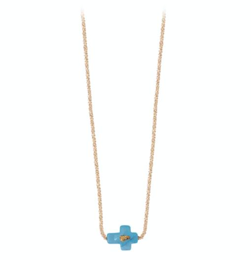 collier argent croix turquoise