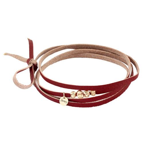 bracelet femme cordon bordeaux et or