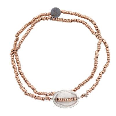 bracelet double tour argent et pierre