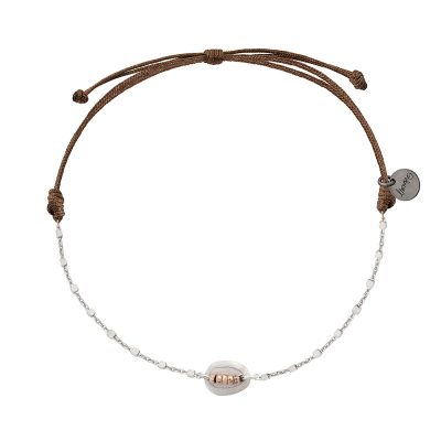 bracelet multi tour argent et cuir