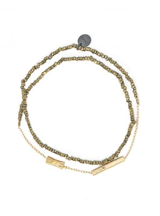 bracelet double graphik stone kaki