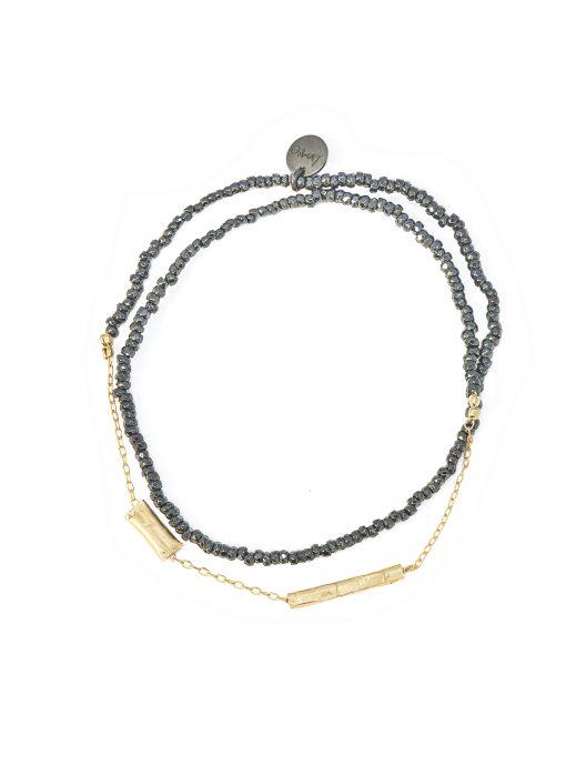 bracelet double graphik stone noir