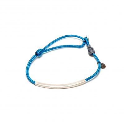 Bracelet sur cordage bleu et tube argent