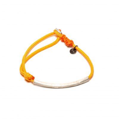 Bracelet sur cordage et tube argent