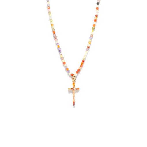 Collier croix multicolor