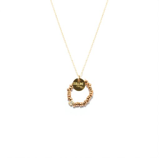 Necklace cercle pink stone