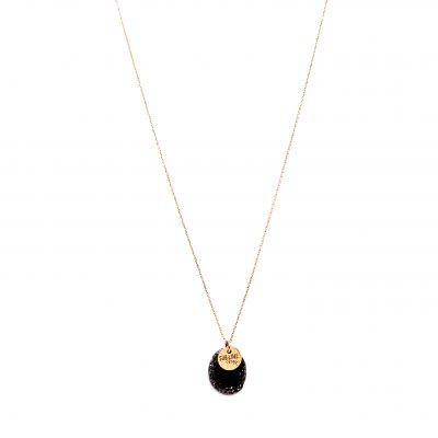 Collier mini médaille black