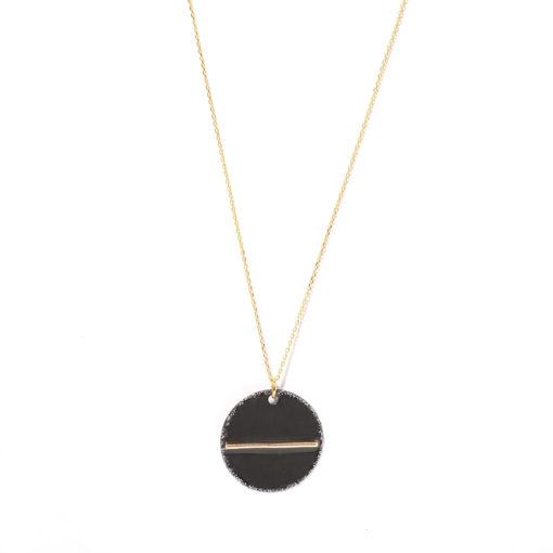 Collier médaille et fil d'or black